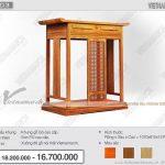 Mẫu bàn thờ kiểu đứng có ngăn kéo lớn để vừa mâm cơm ẩn bên dưới mặt ban thờ, đơn giản mà đẹp hiện đại: BTD 03