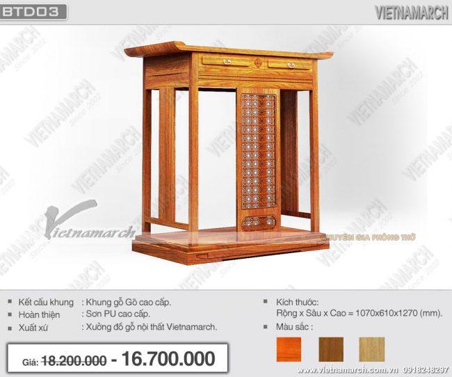 mẫu bàn thờ đứng đẹp