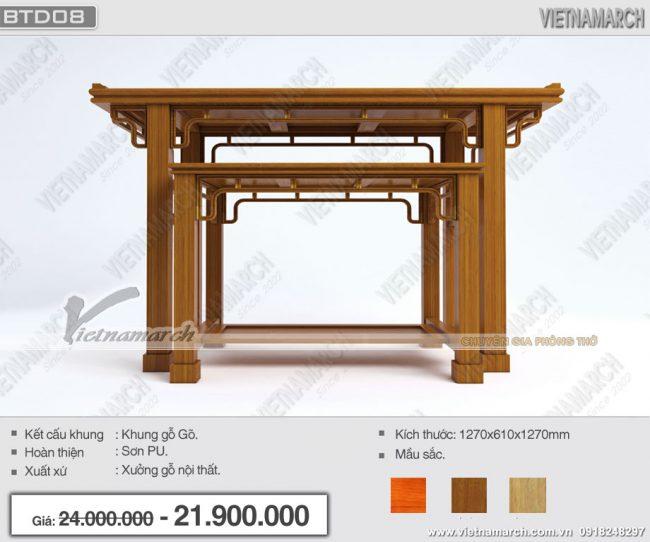 Bàn thờ gỗ gõ cao cấp BTD08 dành riêng cho gia đình hiện đại - Đơn giản mà đẹp uy nghiêm