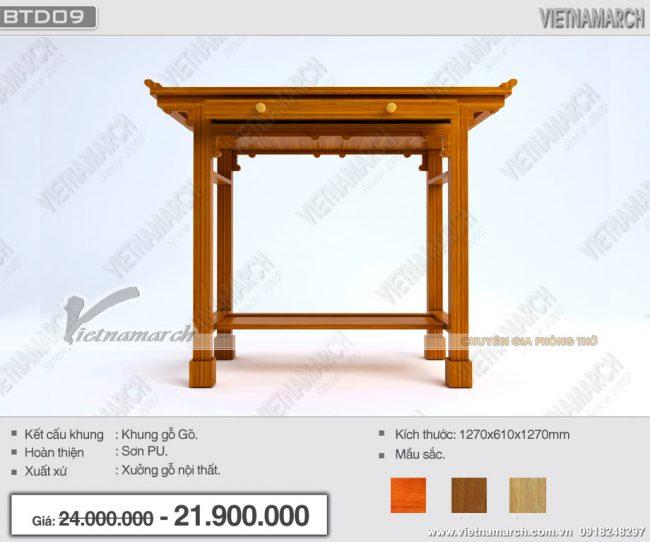 Trang nghiêm với mẫu bàn thờ đứng bền đẹp dành cho chung cư nhỏ: BTD09