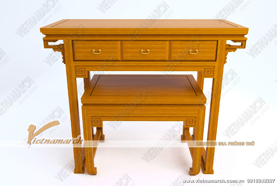 Mẫu bàn thờ hiện đại đứng có bàn cơm, ngăn kéo tiện ích cho không gian vừa và nhỏ: BTD10