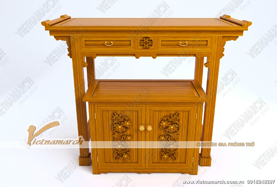 Thiết kế bàn thờ đứng BTD11 chuẩn phong thủy kèm bàn cơm gỗ gõ họa tiết độc đáo