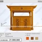 Thiết kế mẫu bàn thờ đứng BTD11 chuẩn phong thủy kèm bàn cơm gỗ gõ họa tiết đẹp độc đáo