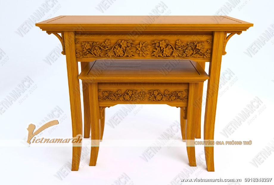 Mẫu bàn thờ đứng 4 chân thanh mảnh cho phòng thờ cổ
