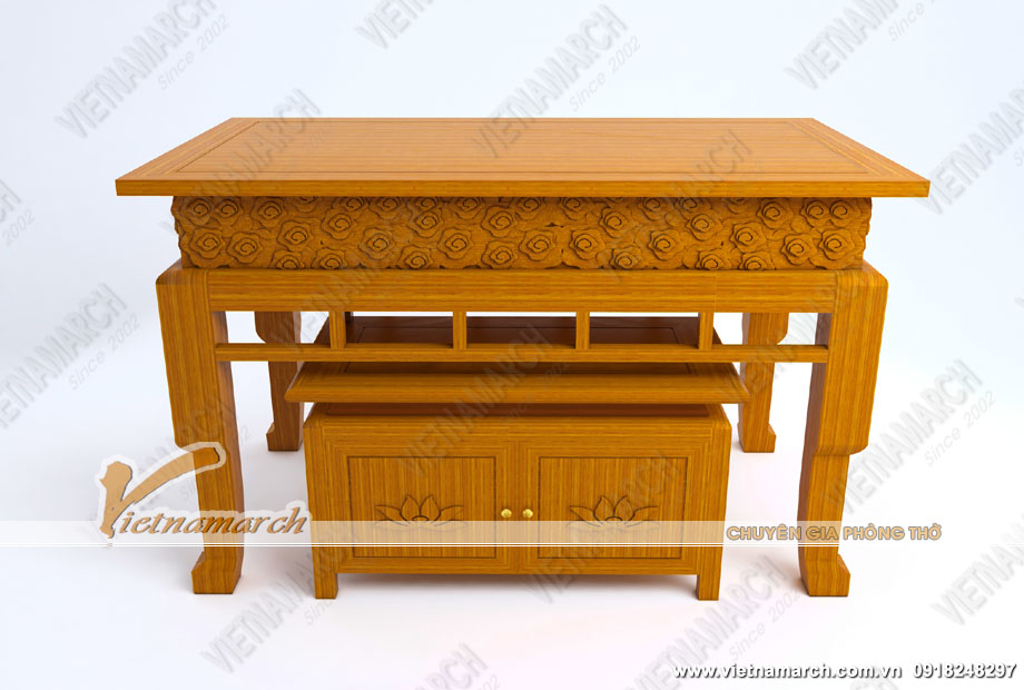 Bộ bàn thờ kèm tủ mẫu đẹp hiện đại họa tiết hoa sen tinh tế cho mọi gia đình: BTD13