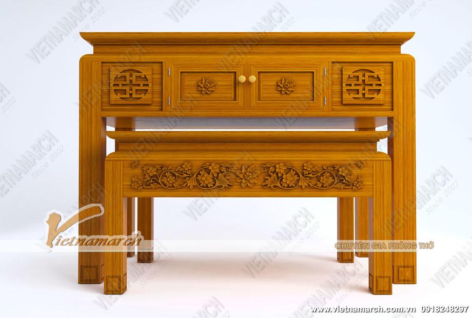 Mẫu bàn thờ đứng kết hợp với bàn thờ phụ được trang trí với hoa văn tinh xảo, đẹp mắt