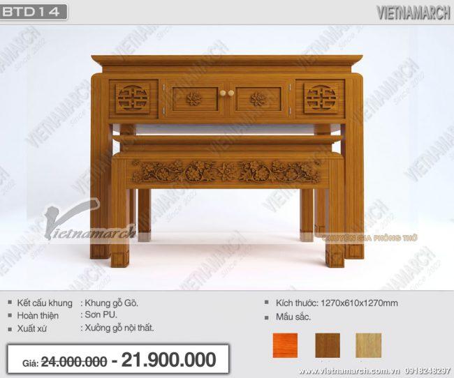 Bền đẹp trang nghiêm là mẫu bàn thờ kích thước chuẩn lỗ ban: BTD14 cho gia đình chung cư diện tích nhỏ