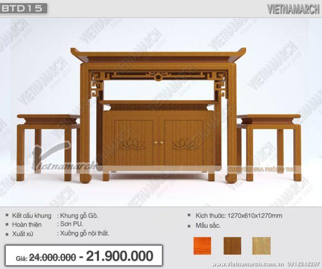 Mẫu bàn thờ gia tiên đẹp nhất: BTD15- Nét tinh xảo hòa quyện giữa truyền thống và hiện đại