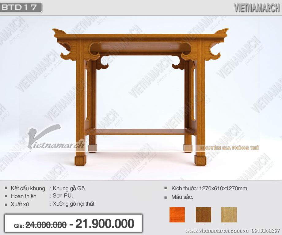 Báo giá bàn thờ đứng gỗ gõ đẹp hiện đại tại Hà Nội dành cho phòng thờ gia đình đơn giản: BTD17