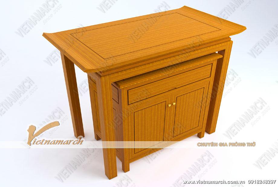 Bàn thờ nhỏ đẹp 4 chân dáng đứng thờ Thần Phật và ông bà Tổ Tiên kèm bàn cơm có tủ tiện ích: BTD18