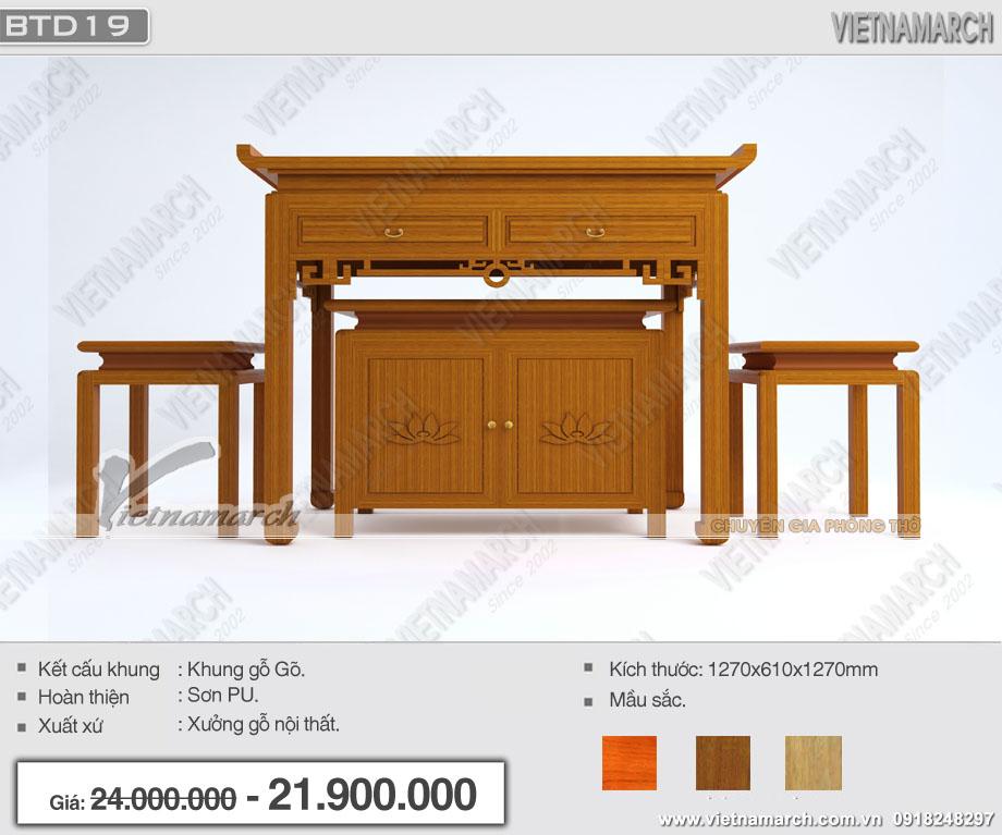 Bàn thờ gỗ gõ hoa sen tinh tế( kiểu đứng) đẹp nhất tại Hà Nội: BTD19- Báo giá rẻ nhất
