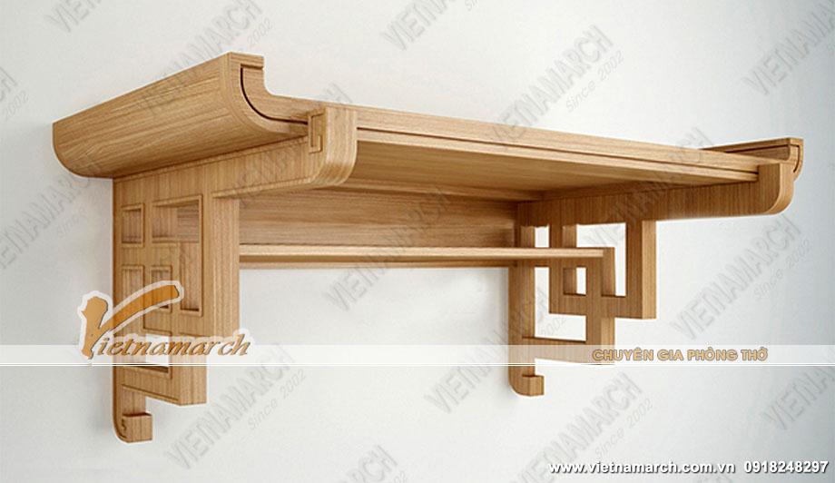 Mẫu bàn thờ Tổ tiên hoa văn vuông treo tường cho nội thất phòng thờ nhỏ phong cách hiện đại: BTT12