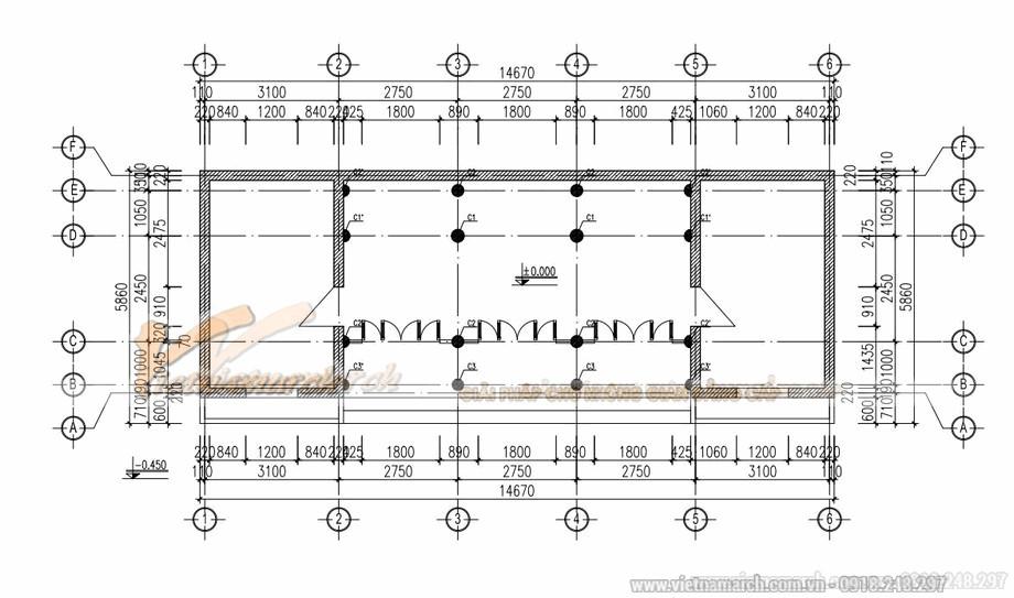 Bản vẽ thiết kế nhà gỗ cổ truyền 3 gian 1