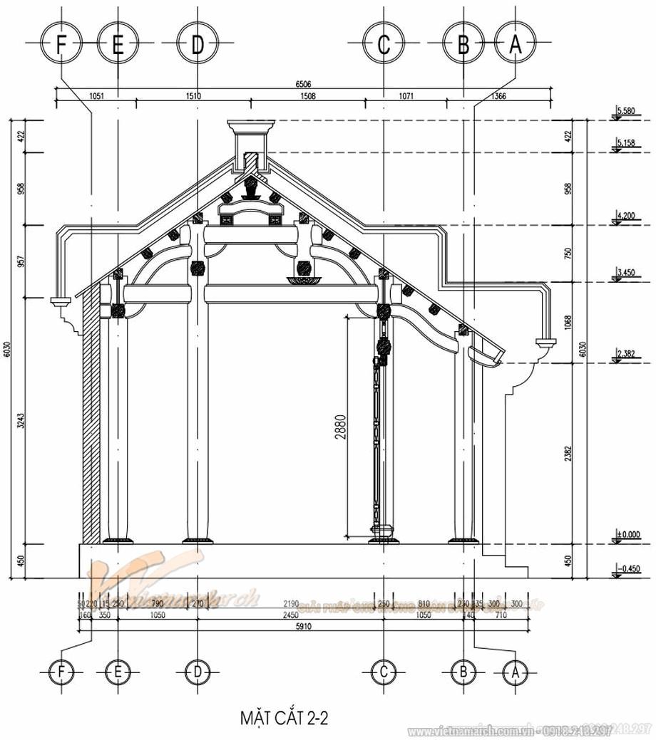 Bản vẽ thiết kế nhà gỗ cổ truyền 3 gian 2