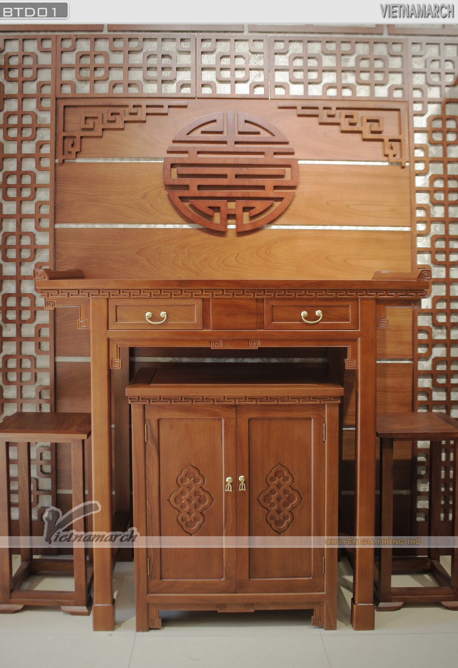 Mẫu bàn thờ đứng đẹp xuyên thời gian BTD 01 NGuyễn Xiển
