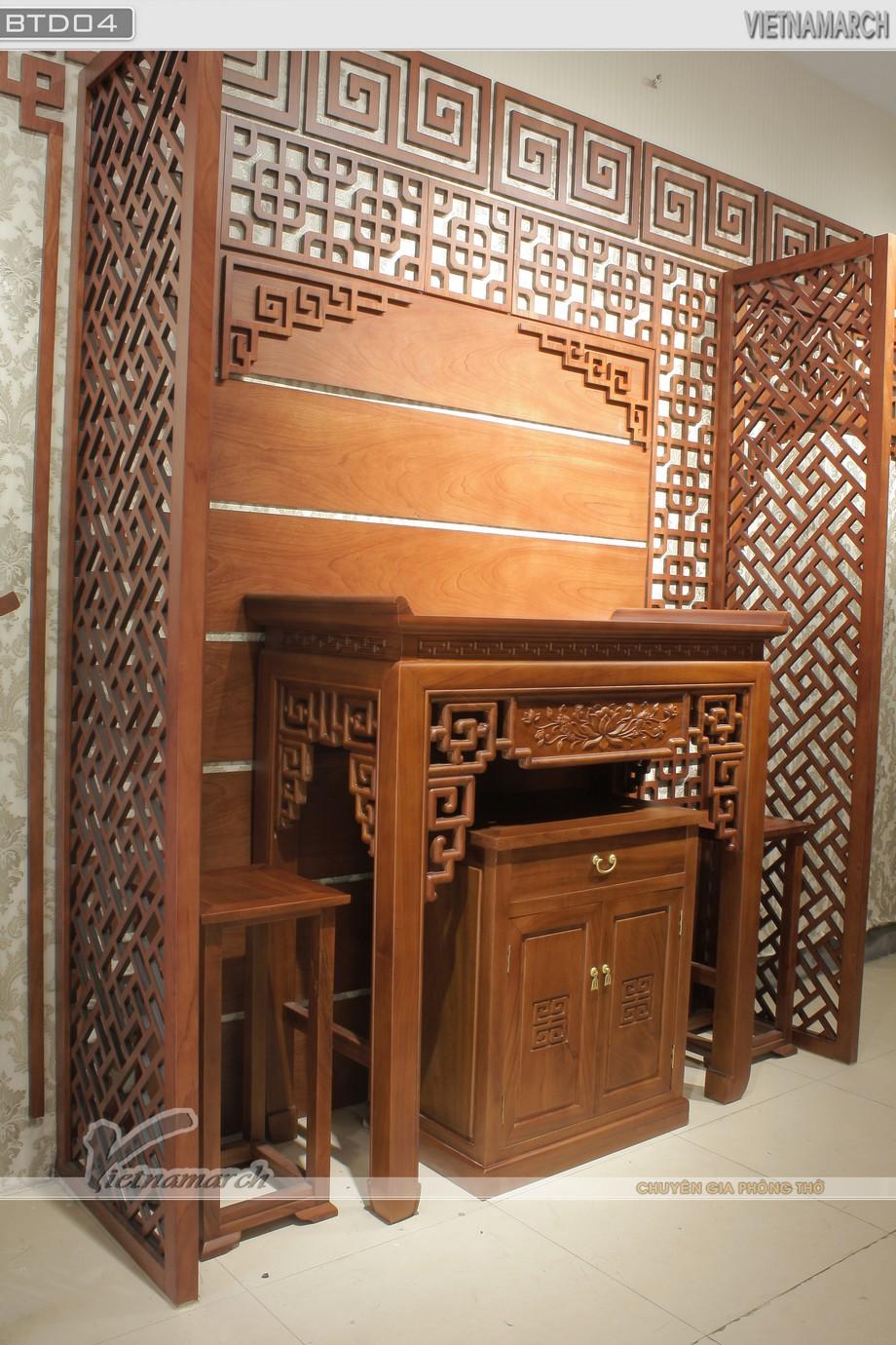 Mẫu bàn thờ phụ dạng tủ thờ mang phong cách truyền thống kết hợp hiện đại