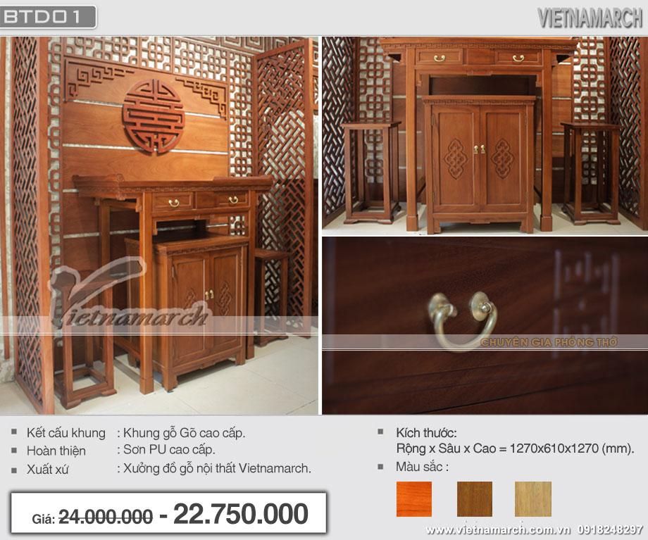 Bàn thờ đứng cao cấp phong cách hiện đại cho nhà chung cư- BTD01