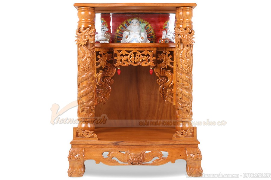 21 mẫu bàn thờ, khám thờ, tủ thờ ông Địa, Thần tài mái chùa đẹp làm bằng gỗ cao cấp