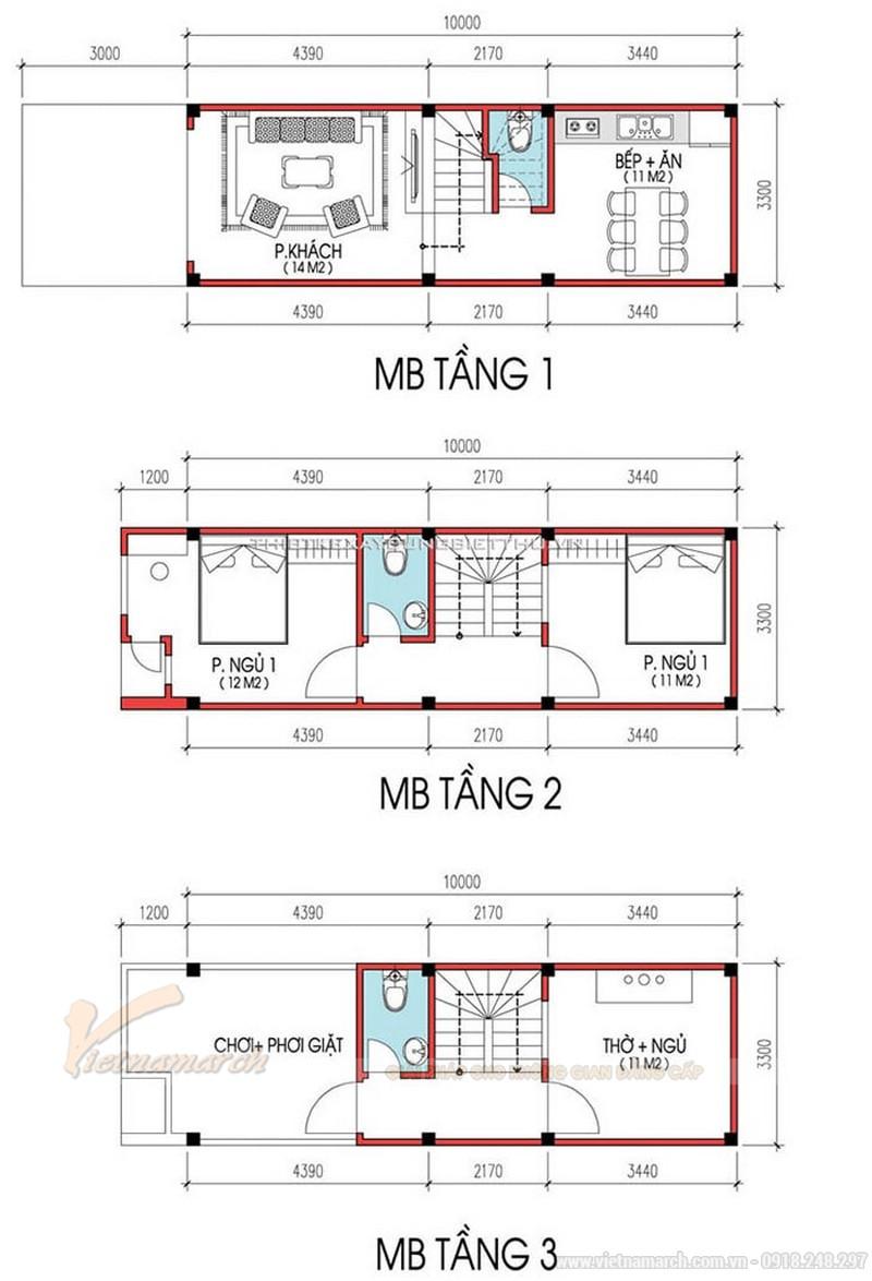 Bản vẽ thiết kế nhà ống đẹp 30m2