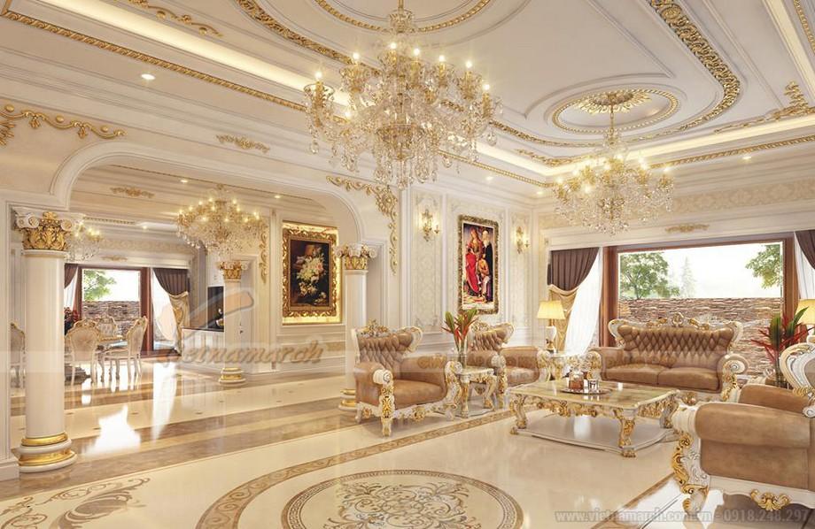 Mẫu trần thạch cao cổ điển đẹp cho phòng khách sang trọng