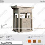 Phòng thờ nhỏ đẹp trang nghiêm với mẫu bàn thờ đứng phong cách hiện đại kèm bàn cơm: BTD10