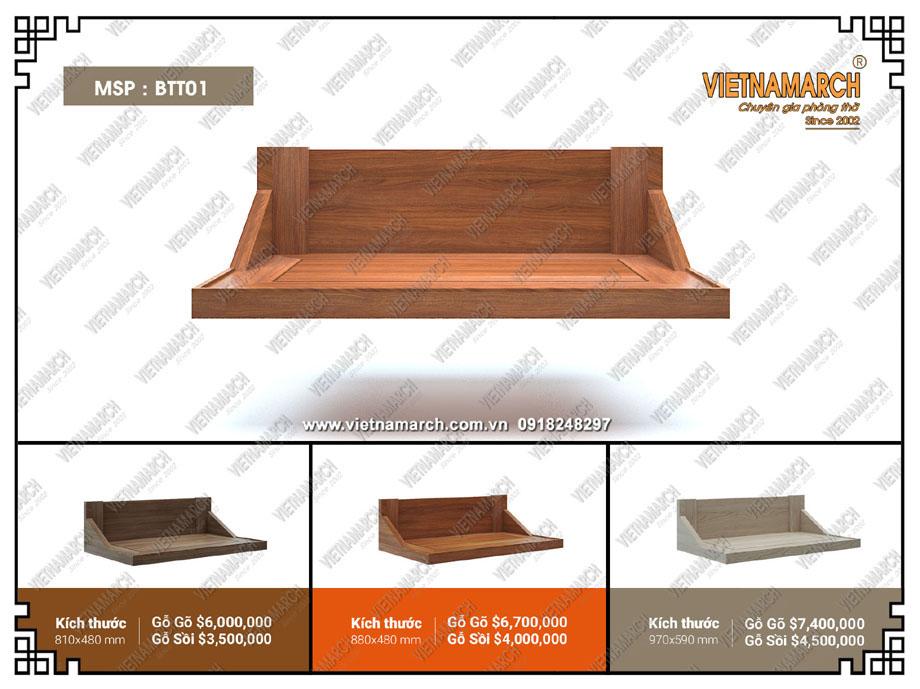 Mẫu bàn thờ treo đẹp cho không gian nhà chung cư hoặc gia đình diện tích nhỏ bán chạy nhất