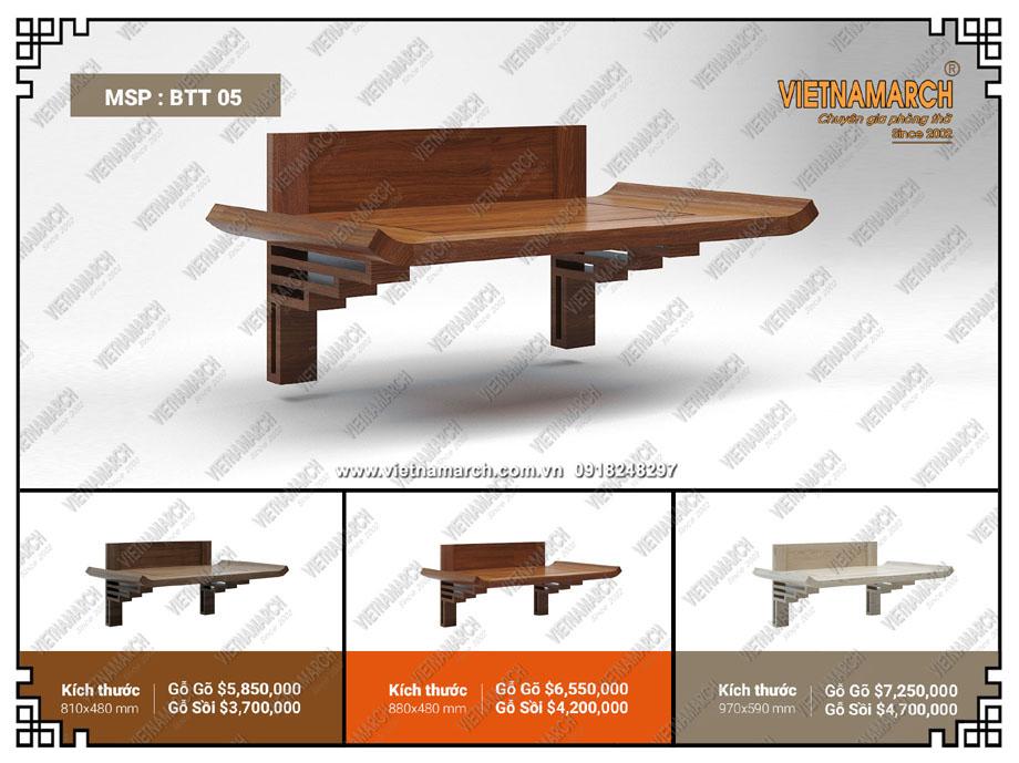 Mẫu bàn thờ treo tường thiết kế đơn giản, độc đáo phù hợp với nhiều không gian trong gia đình