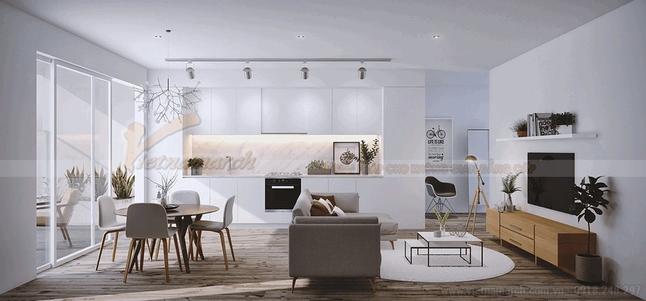 Phòng khách hiện đại và thông minh cho căn hộ chung cư 90m2 view1