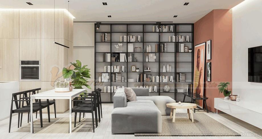 Phòng khách hiện đại và thông minh cho căn hộ chung cư 90m2 view2