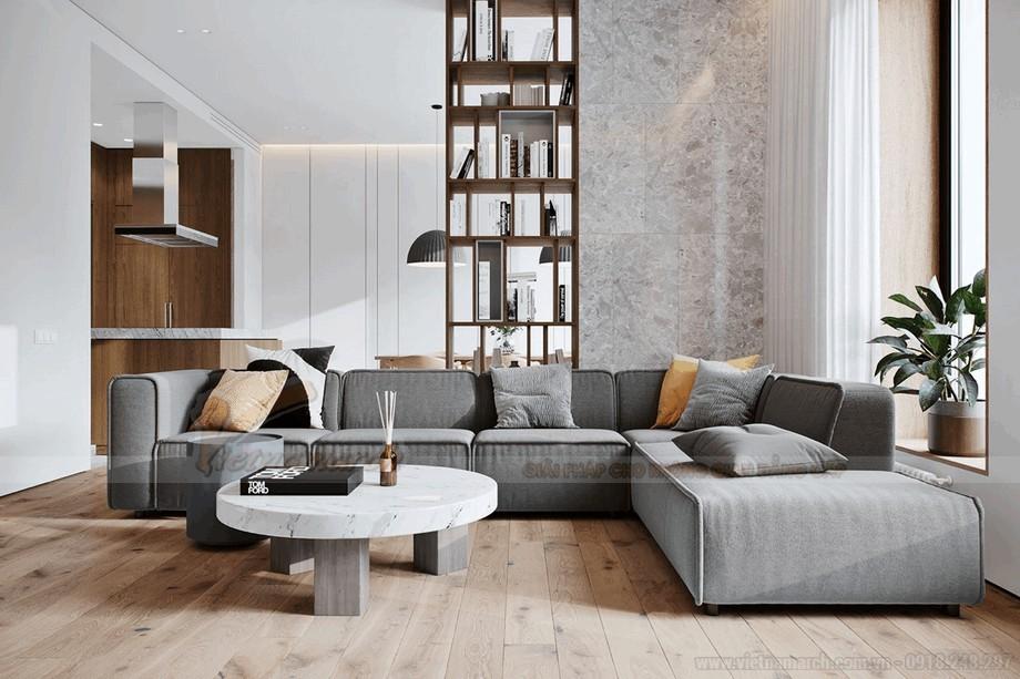 Phòng khách hiện đại và thông minh cho căn hộ chung cư 90m2 view3