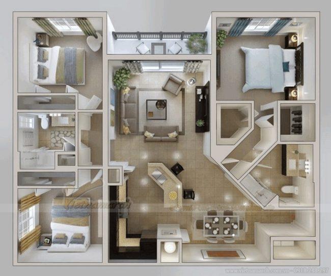 Thiết kế căn hộ chung cư 90m2 đẹp và sang trọng nhất