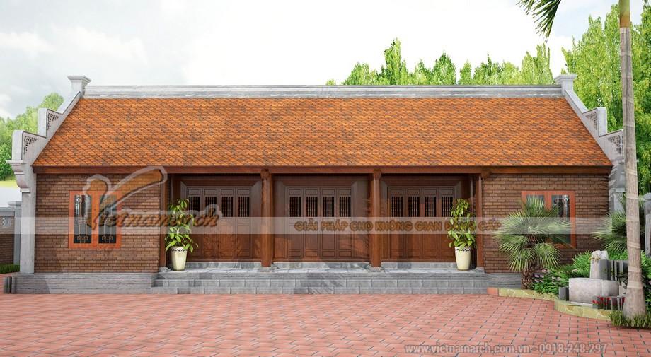 Nhà thờ họ 3 gian 2 chái bằng gỗ sơn màu nâu trầm mặc