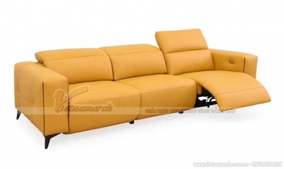 Ghế sofa da tone màu vàng làm sáng bừng phòng khách nhà bạn
