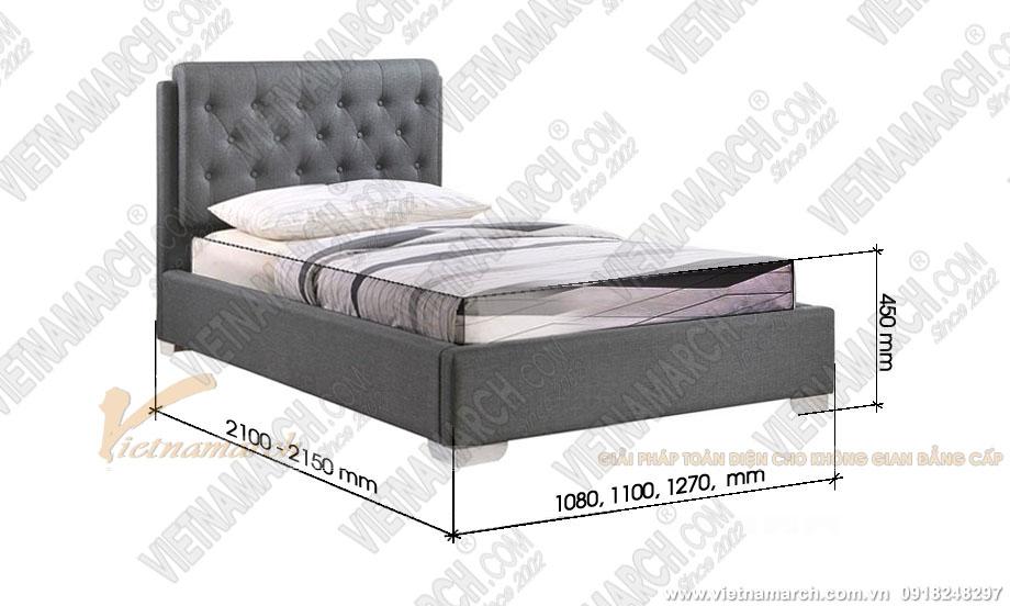 Kích thước giường đơn (Single bed) theo lỗ ban - phong thủy