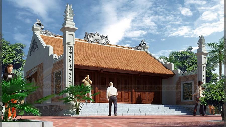 Mẫu nhà thờ họ 3 gian 2 mái chất liệu gỗ mít