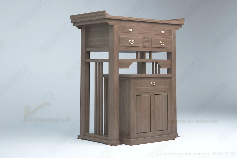 Mẫu bàn thờ đứng hiện đại kèm bàn thờ phụ đẹp cho chung cư