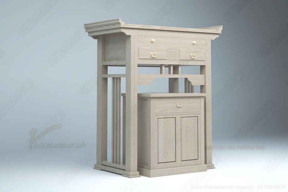 Phòng thờ nhỏ đẹp trang nghiêm với mẫu bàn thờ đứng phong cách hiện đại kèm bàn cơm : BTD10