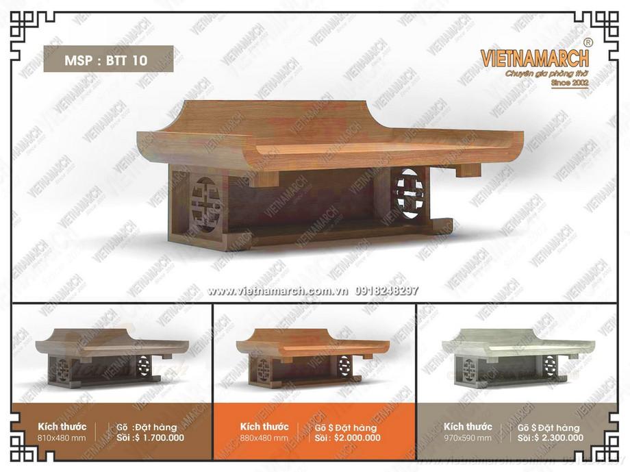 Báo giá mẫu bàn thờ treo tường có ngăn, kiểu dáng hiện đại độc đáo