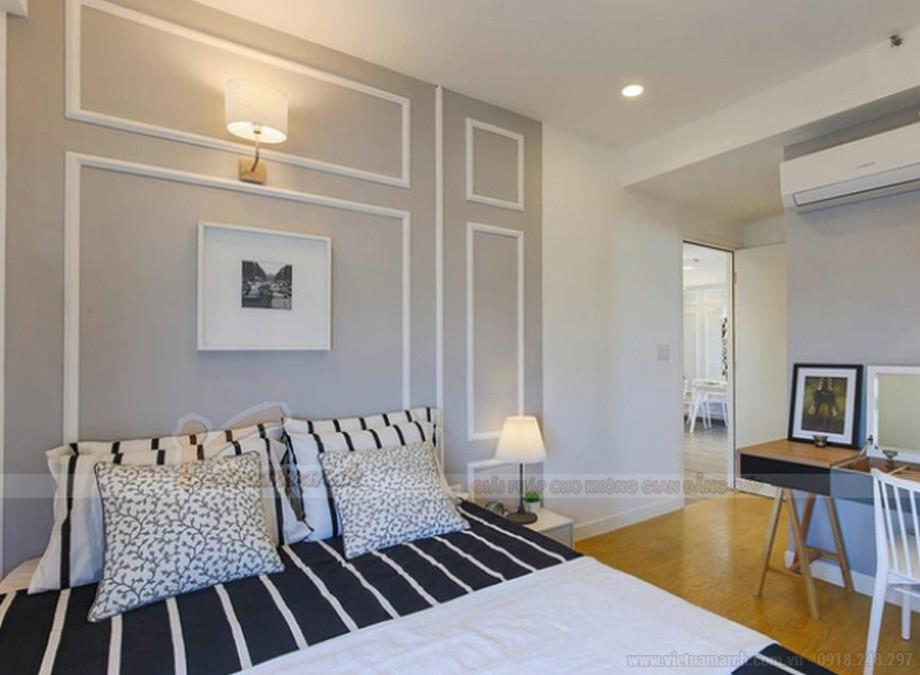 Thiết kế nội thất phòng ngủ chung cư với đường chỉ tường đẹp