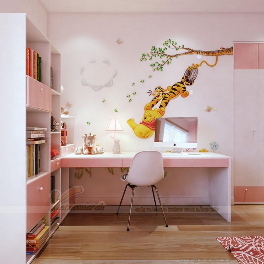 Thiết kế nội thất phòng ngủ trẻ em chung cư màu hồng và trắng