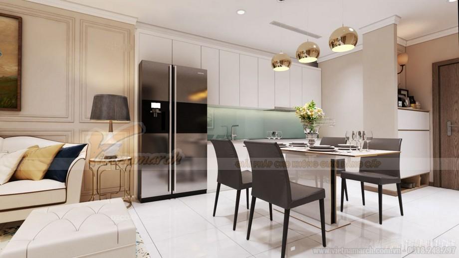 Thiết kế nội thất phòng bếp chung cư 2 phòng ngủ hiện đại