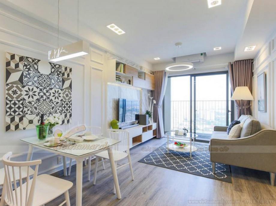 Thiết kế nội thất phòng khách + ăn chung cư 2 phòng ngủ