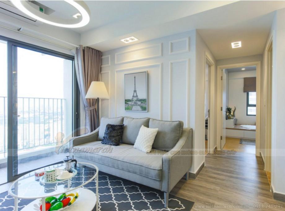 Thiết kế nội thất phòng khách chung cư gam màu sáng