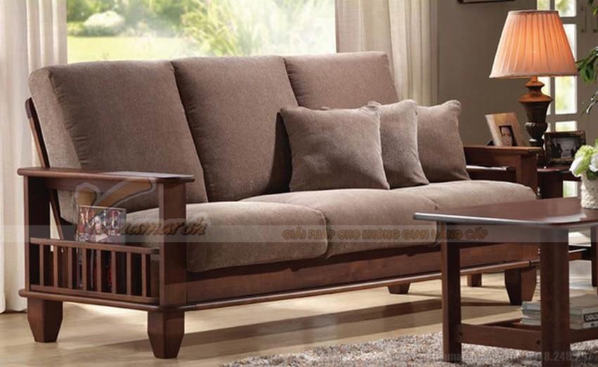 Sofa văng gỗ kết hợp đệm ngồi vải nỉ