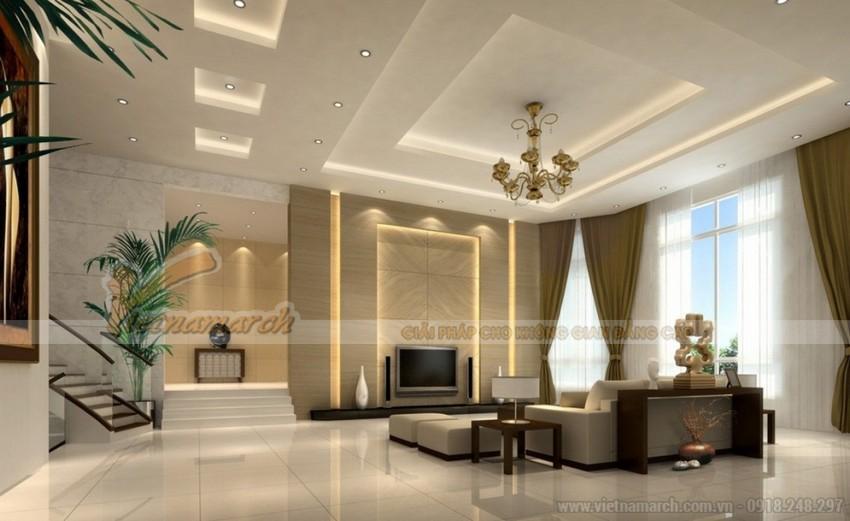 Chọn cách phối màu đơn sắc cho trần thạch cao phòng khách đơn giản