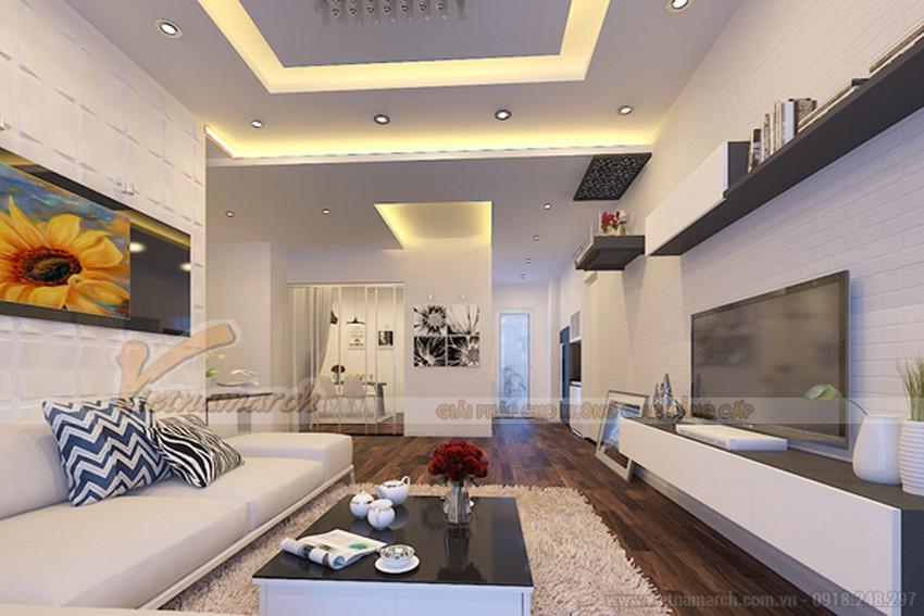 Phối màu kết hợp ánh sáng vàng ấm và xanh dương cho trần thạch cao phòng khách