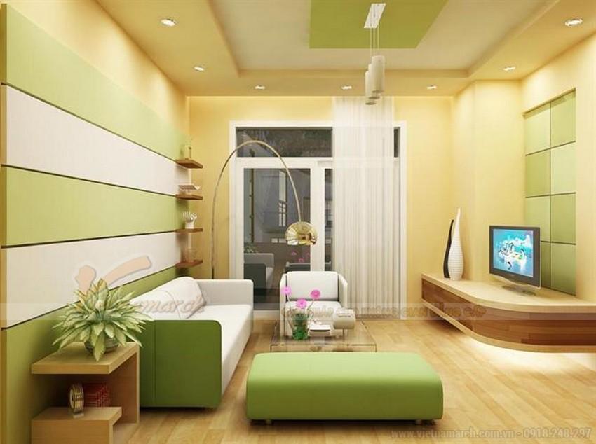 thiết kế trần phẳng hoặc giật cấp nhẹ.lựa chọn màu sắc trần nhẹ nhàng, không nhiều hoa văn họa tiết cho phòng khách nhỏ