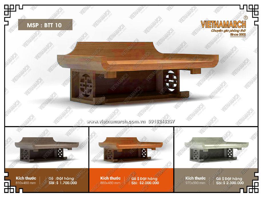 Thiết kế tinh xảo bàn thờ treo tường