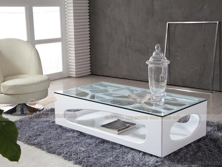 Mẫu bán bàn trà sofa gỗ mặt kính