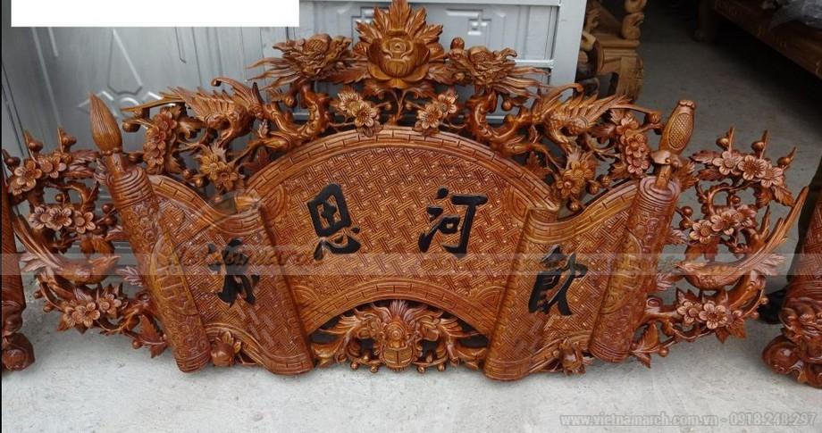 Mẫu cuốn thư bằng gỗ chạm khắc tinh xảo